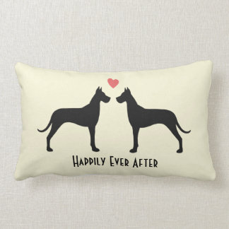 Great Danes Wedding Dogs with Text Lumbar Cushion