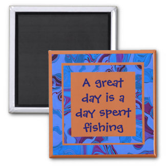 great day fishing square magnet