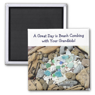 Great Day is Beach Combing with Your Grandkids Square Magnet