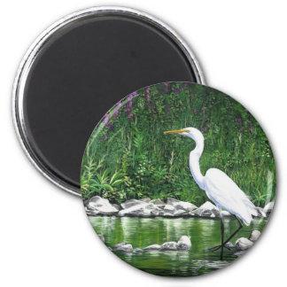 """""""Great Egret"""" 6 Cm Round Magnet"""