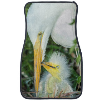Great Egret and baby egret at Gatorland Car Mat