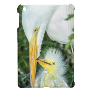Great Egret and baby egret at Gatorland Cover For The iPad Mini