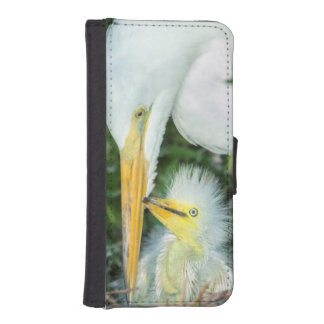 Great Egret and baby egret at Gatorland iPhone SE/5/5s Wallet Case