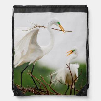 Great Egret (Ardea Alba) Breeding Activity Drawstring Bag
