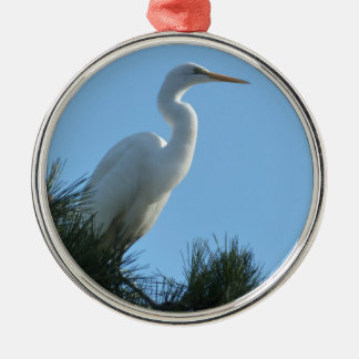 Great Egret in Sunny Florida Silver-Colored Round Decoration