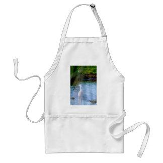 Great egret in wetlands standard apron