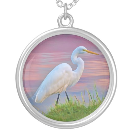 Great Egret Strolling at Sunrise Necklace
