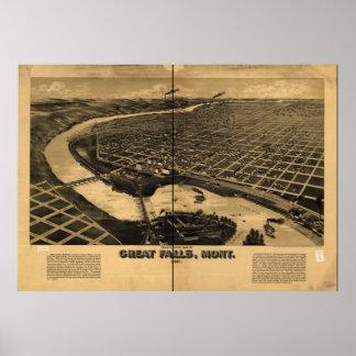 Great Falls Montana 1891 Antique Panoramic Map Poster