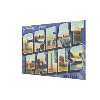 Great Falls, Montana - Large Letter Scenes 2 Canvas Print