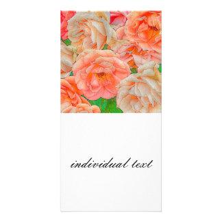 great garden roses, orange customized photo card