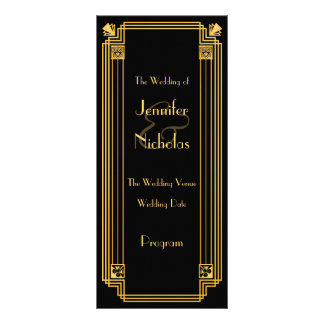 Great Gatsby 1920s Art Deco Inspired Wedding Progr Rack Card