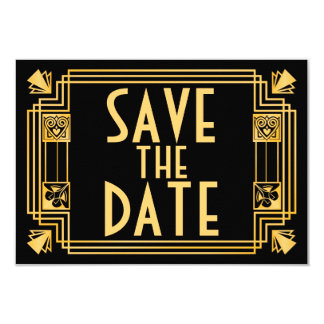 Great Gatsby 1920s Art Deco Wedding Save the Date 9 Cm X 13 Cm Invitation Card