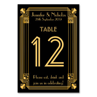 Great Gatsby 1920s Art Deco Wedding Table Number