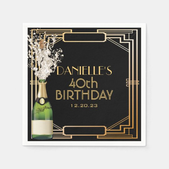 Great Gatsby Art Deco Birthday Personalised Napkin Disposable