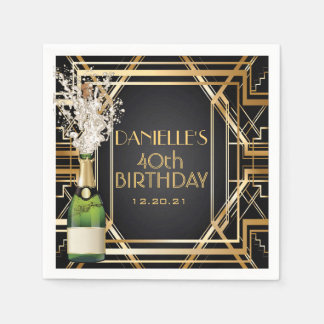 Great Gatsby Art Deco Birthday Personalized Napkin Disposable Serviette