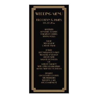 Great Gatsby Art Deco Black Gold Wedding Menu Card Full Color Rack Card