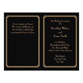 Great Gatsby Art Deco Black Gold Wedding Programs 21.5 Cm X 28 Cm Flyer