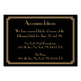 Great Gatsby Art Deco Black Wedding Accommodation Table Cards