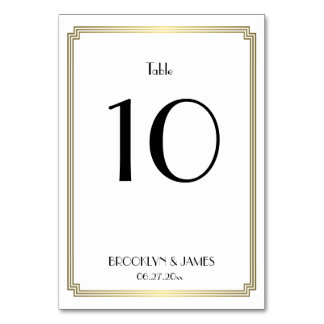 Great Gatsby Art Deco Gold Wedding Table Numbers