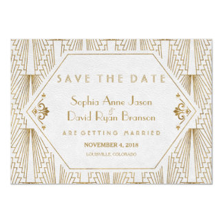 Great Gatsby Art Deco Gold White Save The Date Card