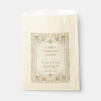 Great Gatsby Art Deco Gold White Thank you Favour Bags