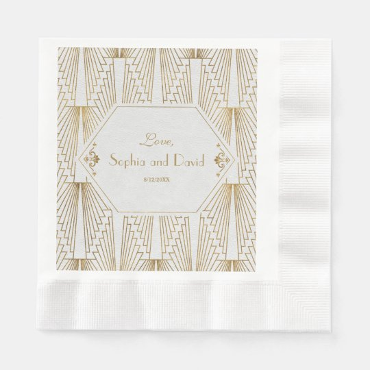 Great Gatsby Art Deco Gold White Wedding Disposable