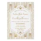 Great Gatsby Art Deco Gold White Wedding Invite