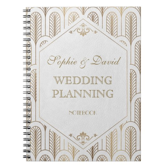 Great Gatsby Art Deco Gold White Wedding Planner