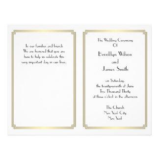Great Gatsby Art Deco Gold White Wedding Programs 21.5 Cm X 28 Cm Flyer