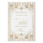 Great Gatsby Art Deco Gold White Wedding RSVP Card