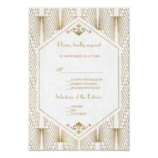Great Gatsby Art Deco Gold White Wedding RSVP Card
