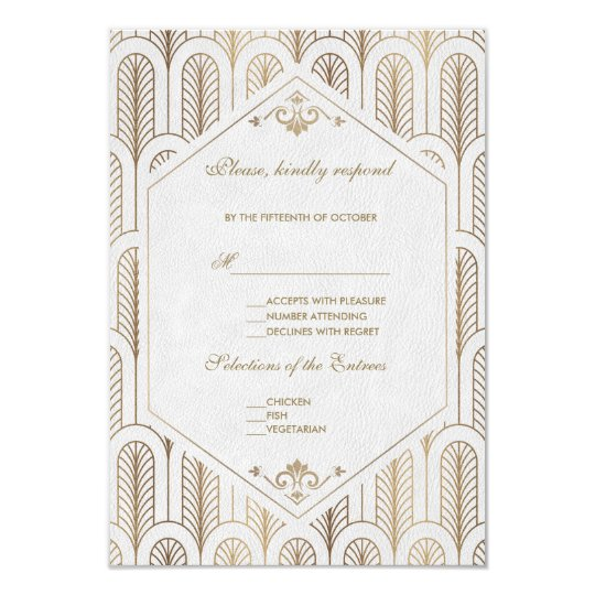 Great Gatsby Art Deco Gold White Wedding RSVP