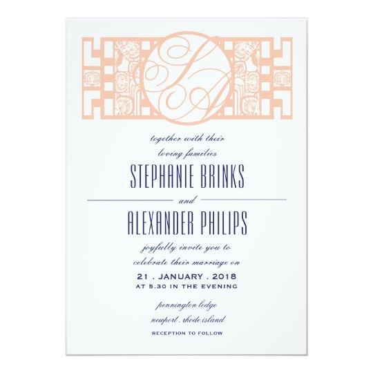 Great Gatsby Art Deco Orchid Wedding Invitations