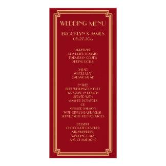 Great Gatsby Art Deco Red Gold Wedding Menu Card Full Colour Rack Card