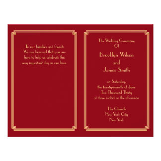"Great Gatsby Art Deco Red Gold Wedding Programs 8.5"" X 11"" Flyer"