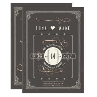 Great Gatsby Art Deco Save the Dates Card