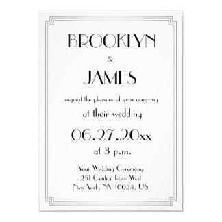 Great Gatsby Art Deco Silver Wedding Invitations