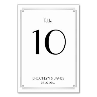 Great Gatsby Art Deco Silver Wedding Table Numbers Table Card
