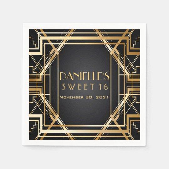 Great Gatsby Art Deco Sweet 16 Personalised Napkin