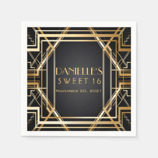 Great Gatsby Art Deco Sweet 16 Personalized Napkin Paper Napkins