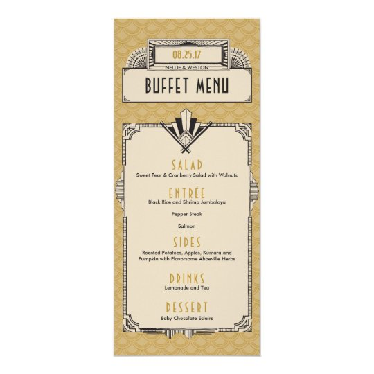 Great Gatsby Art Deco Vintage Menu Cards
