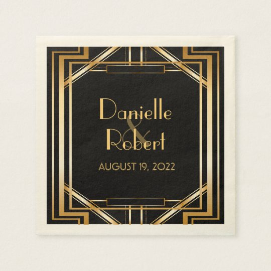 Great Gatsby Art Deco Wedding Personalised Napkin Paper