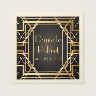 Great Gatsby Art Deco Wedding Personalized Napkin Paper Napkin