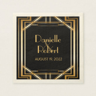 Great Gatsby Art Deco Wedding Personalized Napkin Paper Napkins