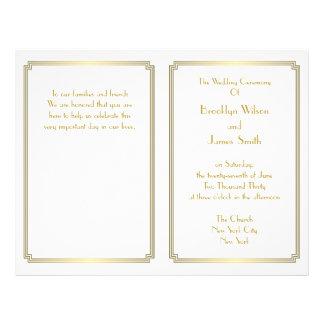 Great Gatsby Art Deco White Gold Wedding Programs 21.5 Cm X 28 Cm Flyer
