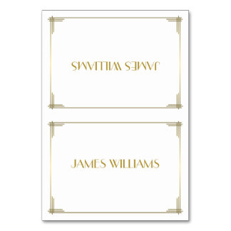 Great Gatsby Gold Art Deco Place Setting Cards