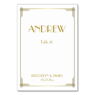 Great Gatsby Gold Art Deco Wedding Table Cards