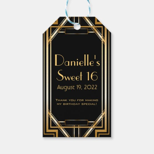 Great Gatsby Inspired Art Deco Favour Tags