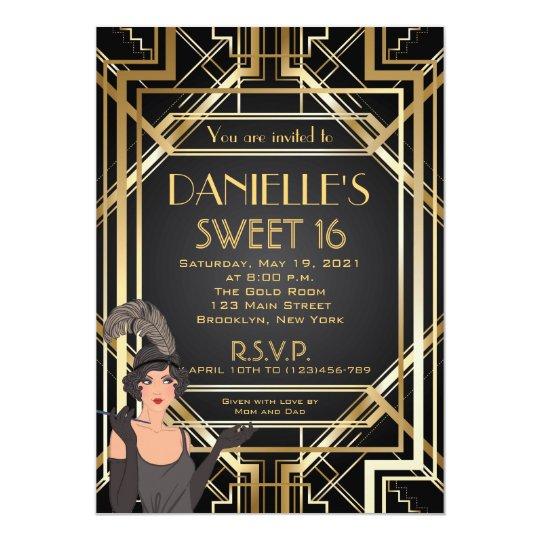 Great Gatsby Inspired Art Deco Sweet 16 Invitation