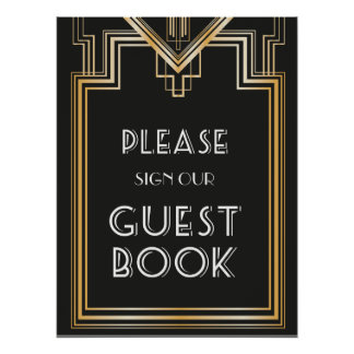 Great Gatsby Inspired Guest Book Wedding Sign Poster